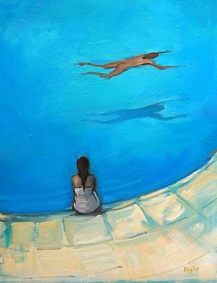 Hockney Painting - Waiting By The Pool by Angela Ooghe