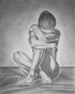Sad Girl Drawing Drawing - Waiting by Danny Dickerson