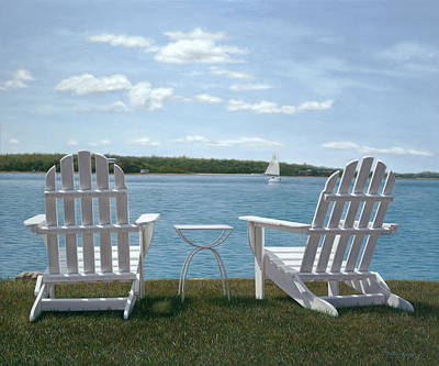 Cape Cod Painting - Waiting For Cocktail Time On Cape Cod by Julia O'Malley-Keyes