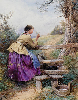 Waiting For Father Print by Forest Myles Birket