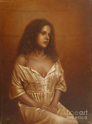 Sepia Chalk Painting - Waiting For Her Lover by John Silver
