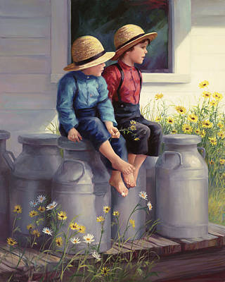 Brothers Painting - Waiting For Mama by Laurie Hein