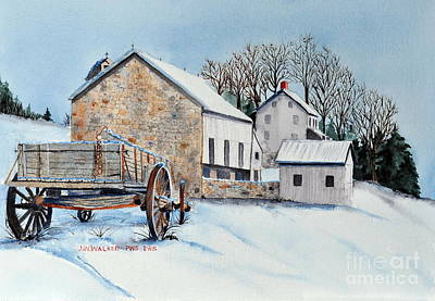 Stone Barn Painting - Waiting For Spring by John W Walker