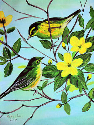 Yellow Beak Painting - Waiting For Spring  by Maggie Ullmann