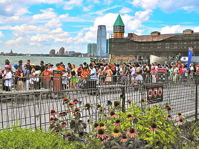 Waiting For The Ferry In Battery Park In New York City-ny Print by Ruth Hager