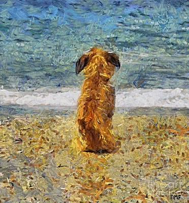Dog Painting - Waiting For The Old Fisherman by Dragica  Micki Fortuna