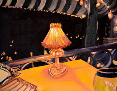 Night Lamp Painting - Waiting For The Show To Start by Julie Todd-Cundiff