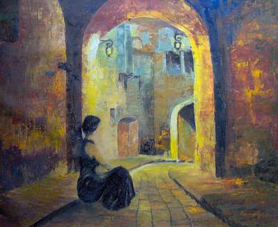 Night Lamp Painting - Waiting by Maria Karalyos