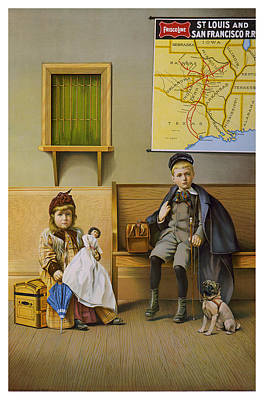 Waiting Room For The Frisco Line. Circa 1899. Print by Strobridge Litho