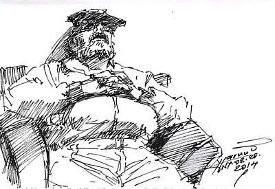 Waiting Room Nap Sketch Print by Ylli Haruni
