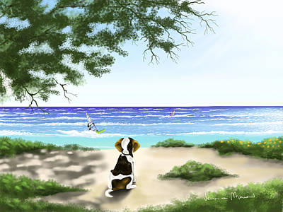 Seascape Digital Painting - Waiting by Veronica Minozzi