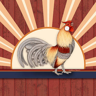 Rooster Drawing - Wakeup Call by Katherine Plumer