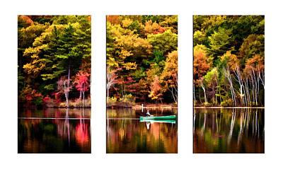 Canoe Mixed Media - Walden Pond In Three by Garland Johnson