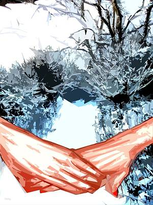 Snow-covered Landscape Mixed Media - A Walk In The Snow by Patrick J Murphy