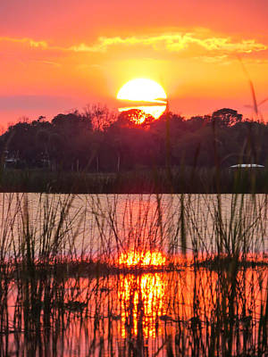 Sun Photograph - Walk In The Water Sunset by Zina Stromberg