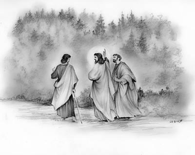 Jesus Drawing - Walk To Emmaus by Greg Joens