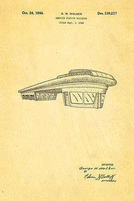 Brickie Photograph - Walker Service Station Patent Art 1944 by Ian Monk