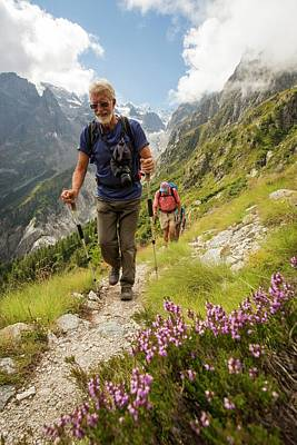 Serrated Photograph - Walkers Doing The Tour Du Mont Blanc by Ashley Cooper