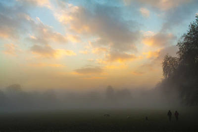 Walkers In The Fog Print by Matthew Bruce