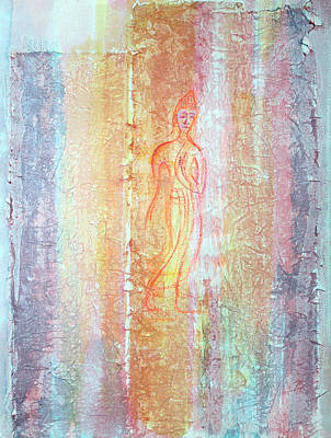 Walking Buddha Print by Asha Carolyn Young