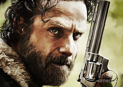 Tag Digital Art - Walking Dead - Rick by Paul Tagliamonte