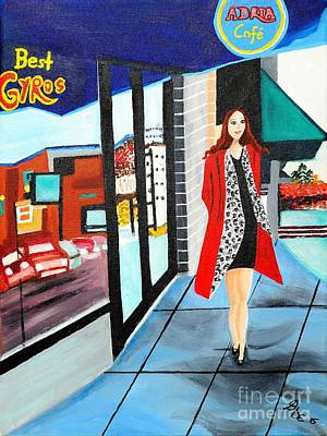 Store Fronts Painting - Walking Downtown by Art by Danielle