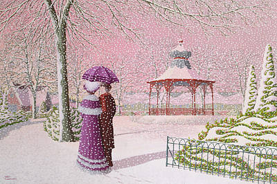 Walking In The Snow Print by Peter Szumowski