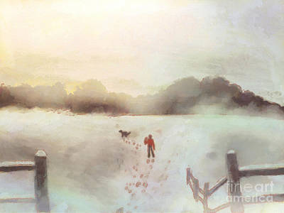 Charming Drawing - Dog Walking In Winter by Pixel Chimp