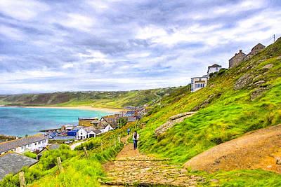 Walking Into Sennen Cove On The Cornish Coast Print by Mark E Tisdale