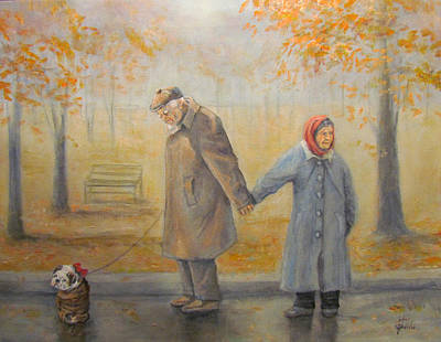 Fog Painting - Walking Miss Daisy by Donna Tucker