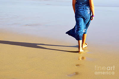 Girl Photograph - Walking On The Beach by Carlos Caetano