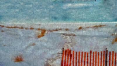 Lake Michigan Mixed Media - Walking On The Beach by Dan Sproul