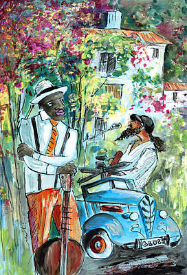 Singer Drawing - Walking Stick Man At The Blues Festival In Cazorla by Miki De Goodaboom