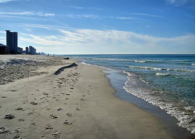 Walking The Beach Print by Sandy Keeton