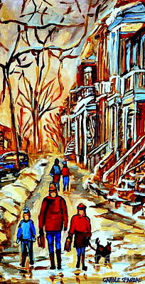 Dog In Landscape Painting - Walking The Dog By Balconville Winter Street Scenes Art Of Montreal City Paintings Carole Spandau by Carole Spandau