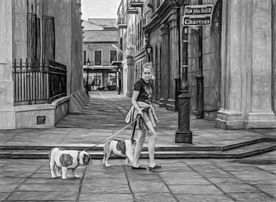Walking The Dog Digital Art - Walking The Dogs In Jackson Square - Paint Bw by Steve Harrington