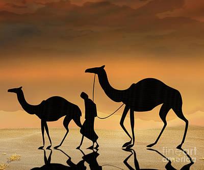 Camel Mixed Media - Walking The Sahara by Bedros Awak