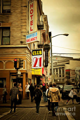 Bay Area Digital Art - Walking The San Francisco Tenderloin Streets 5d19353brun by Wingsdomain Art and Photography