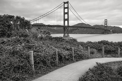Walking To The Golden Gate Bridge - Black And White Print by Gregory Ballos