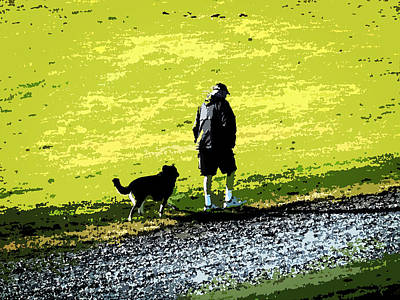 Man Photograph - Walking With Friend by Zinvolle Art