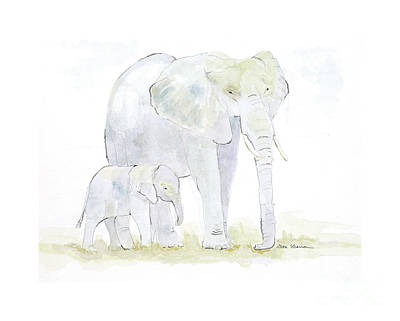Walking With Mama Print by Joan Sharron