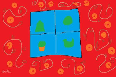 Joyful Drawing - Wall Around The Window by Anita Dale Livaditis
