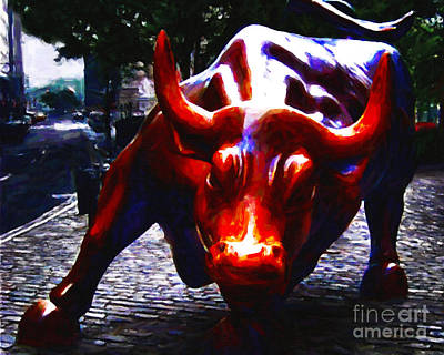 Long Street Digital Art - Wall Street Bull - Painterly by Wingsdomain Art and Photography
