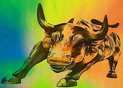Buy Digital Art - Wall Street Bull Pop Art by Dan Sproul