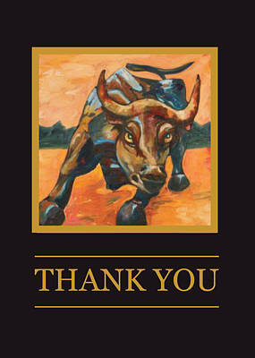 Wall Street Bull Thank You Card Print by Financial Greeting Cards
