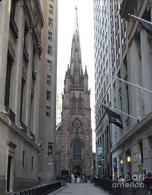 Telfer Photograph - Wall Street Leading To Trinity Church by John Telfer