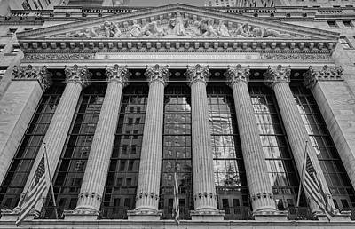 Wall Street New York Stock Exchange Nyse Bw Print by Susan Candelario