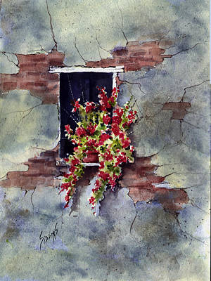 Wall With Red Flowers Original by Sam Sidders