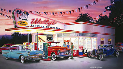 Wallys Service Station Print by Bruce Kaiser