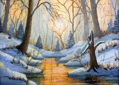 Snowscape Painting - Walnut Creek by CD Copley